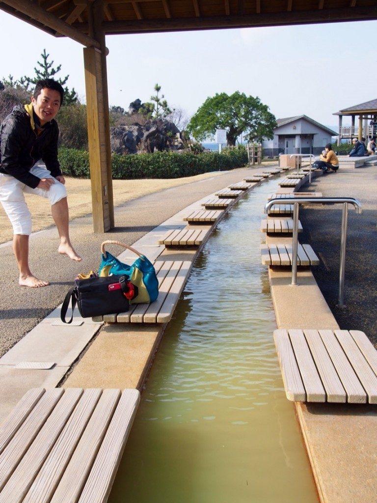 foot bath at Sakurajima Yogan Nagisa Park