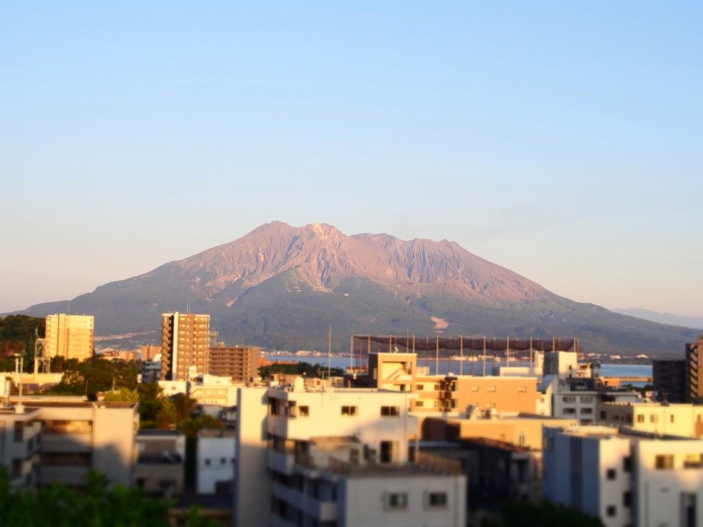 南洲神社の桜島