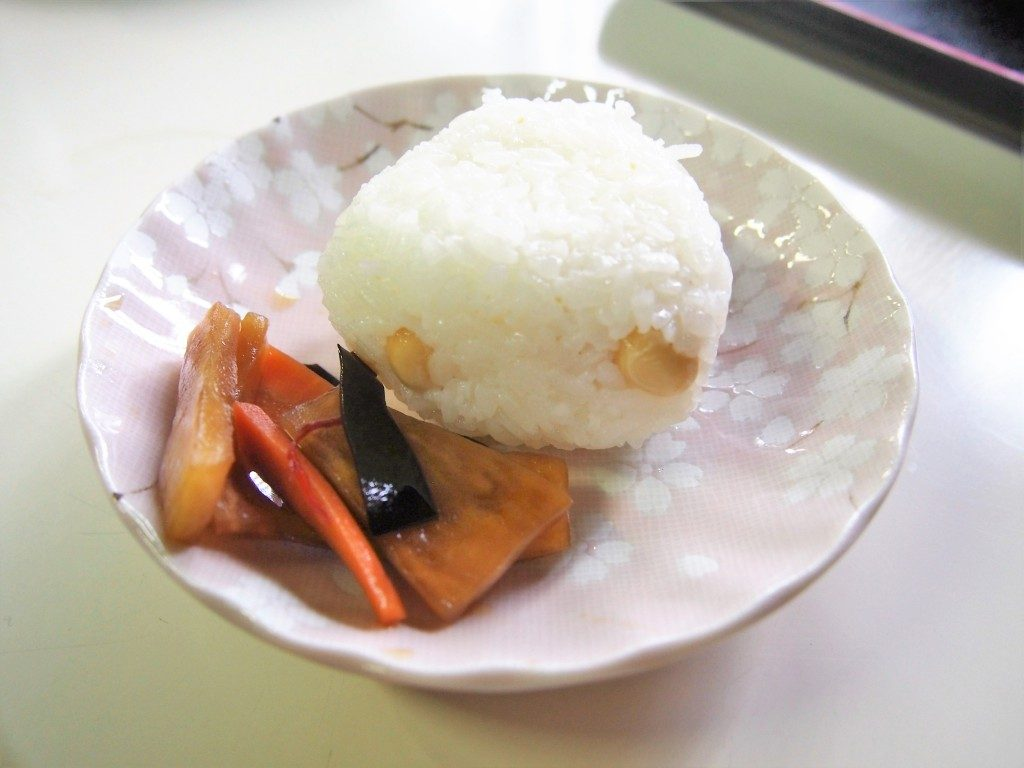 rice ball with pickles