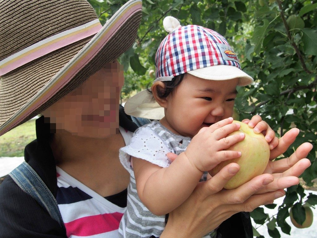 baby eats apple