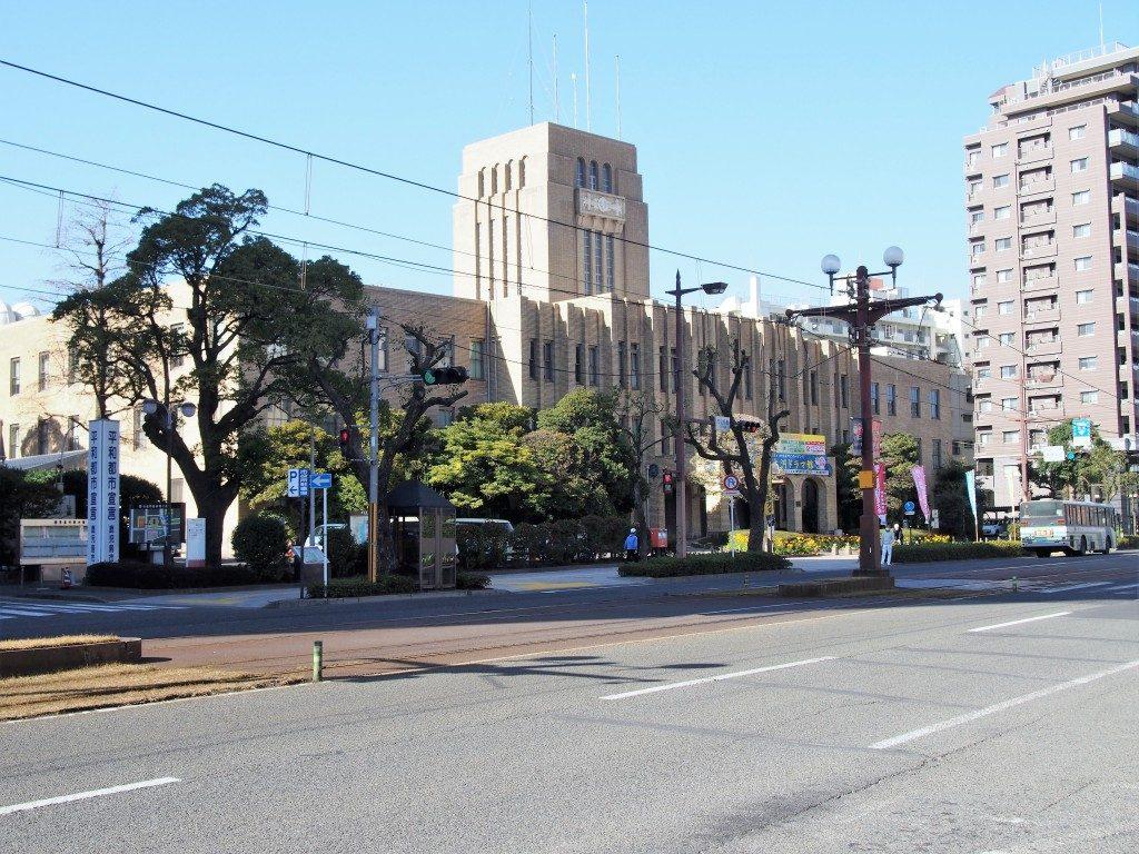 べジカフェローから見た鹿児島市役所