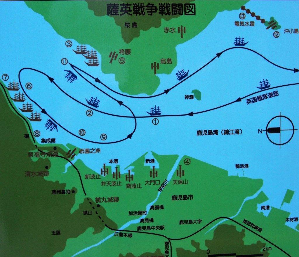 薩英戦争戦闘図