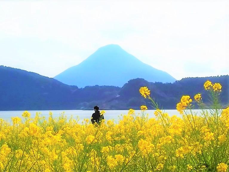 池田湖と開聞岳